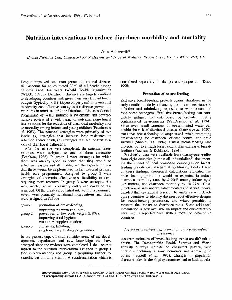 Nutrition interventions to reduce diarrhoea morbidity and mortality