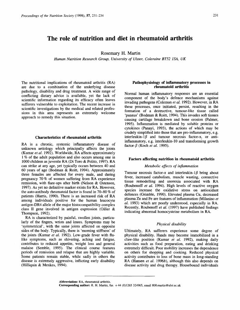 The role of nutrition and diet in rheumatoid arthritis | Proceedings
