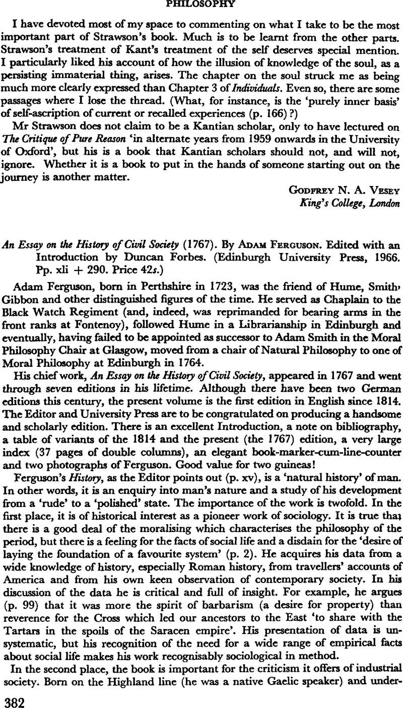 an essay on the history of civil society ferguson Adam ferguson june 20, 1723, logierait, perthshire, scotland – february 22, 1816, st andrews, fife, scotland  an essay on the history of civil society.