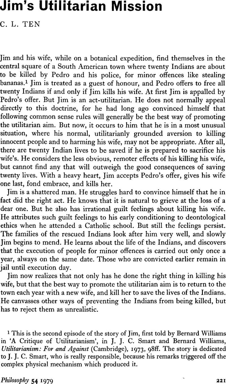 bernard williams a critique of utilitarianism