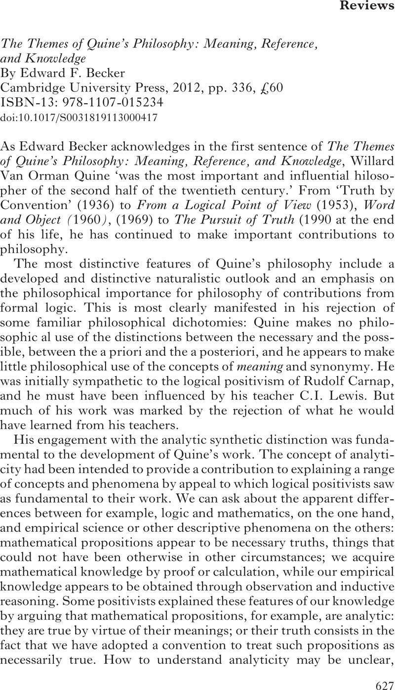 the themes of quine s philosophy becker edward