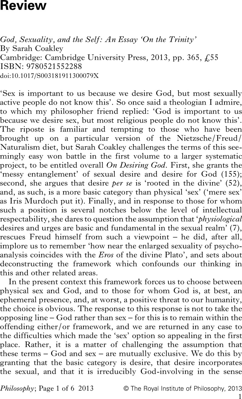 God Sexuality And The Self An Essay On The Trinity By Sarah  God Sexuality And The Self An Essay On The Trinity By Sarah Coakley   Cambridge Cambridge University Press  Pp   Isbn