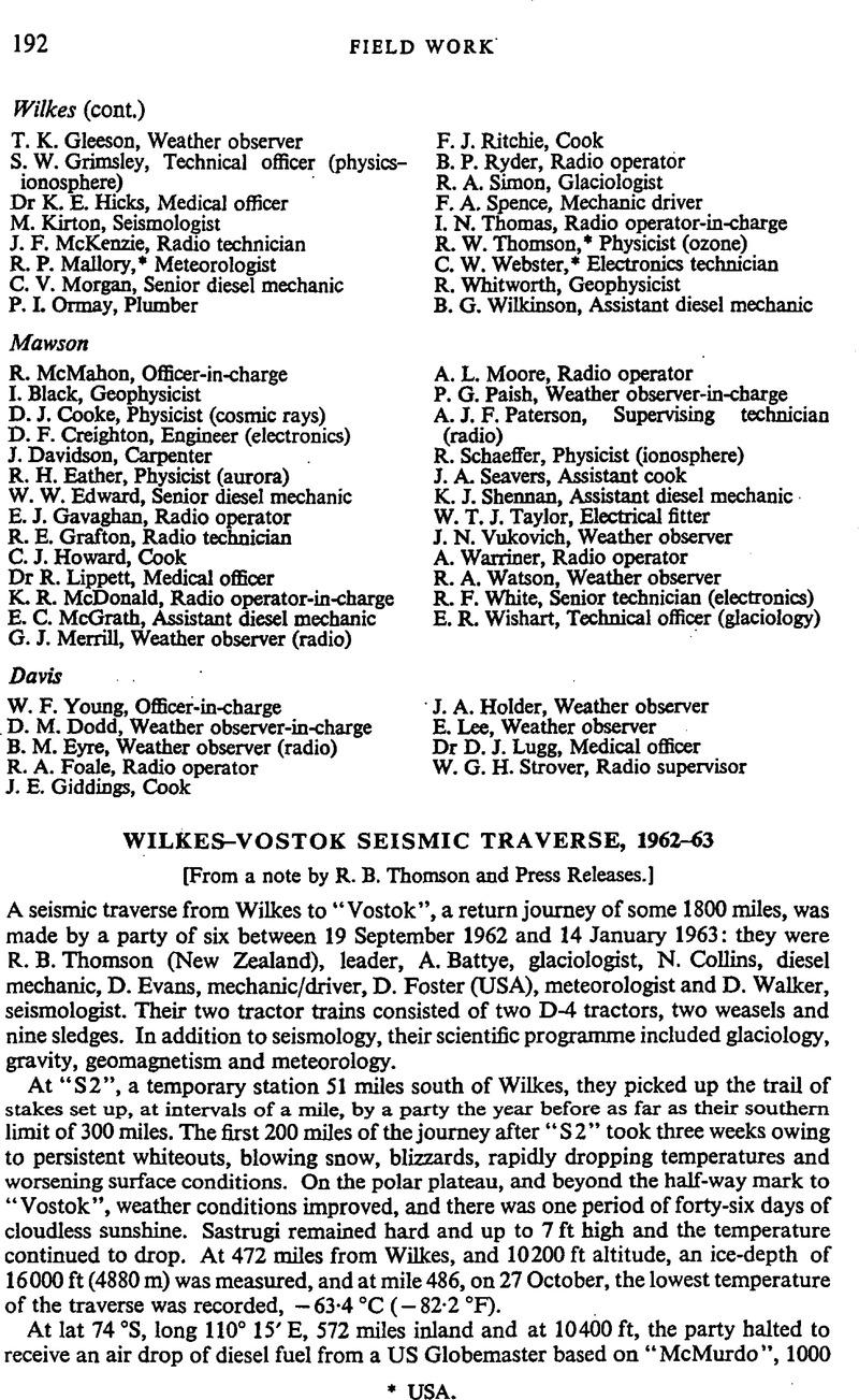 Wilkes-Vostok seismic traverse, 1962–63   Polar Record