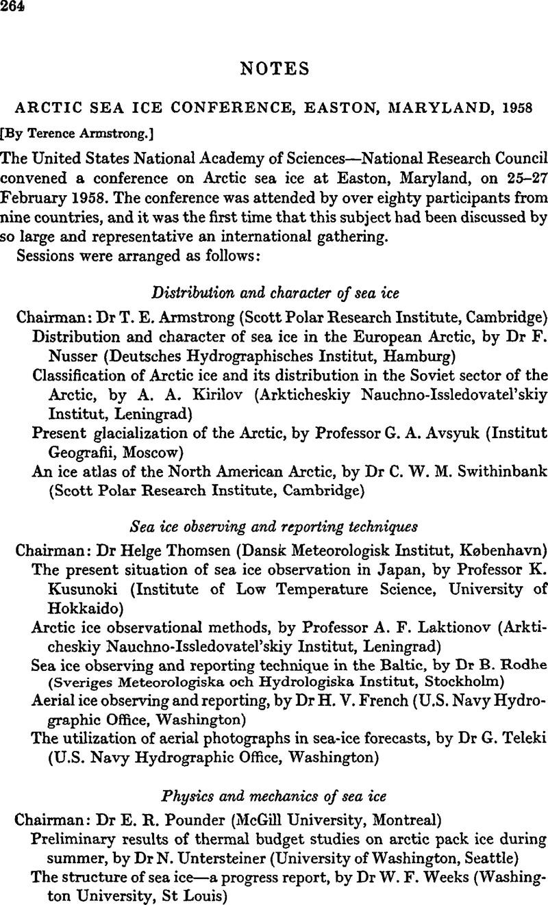 Arctic Sea Ice Conference, Easton, Maryland, 1958 | Polar