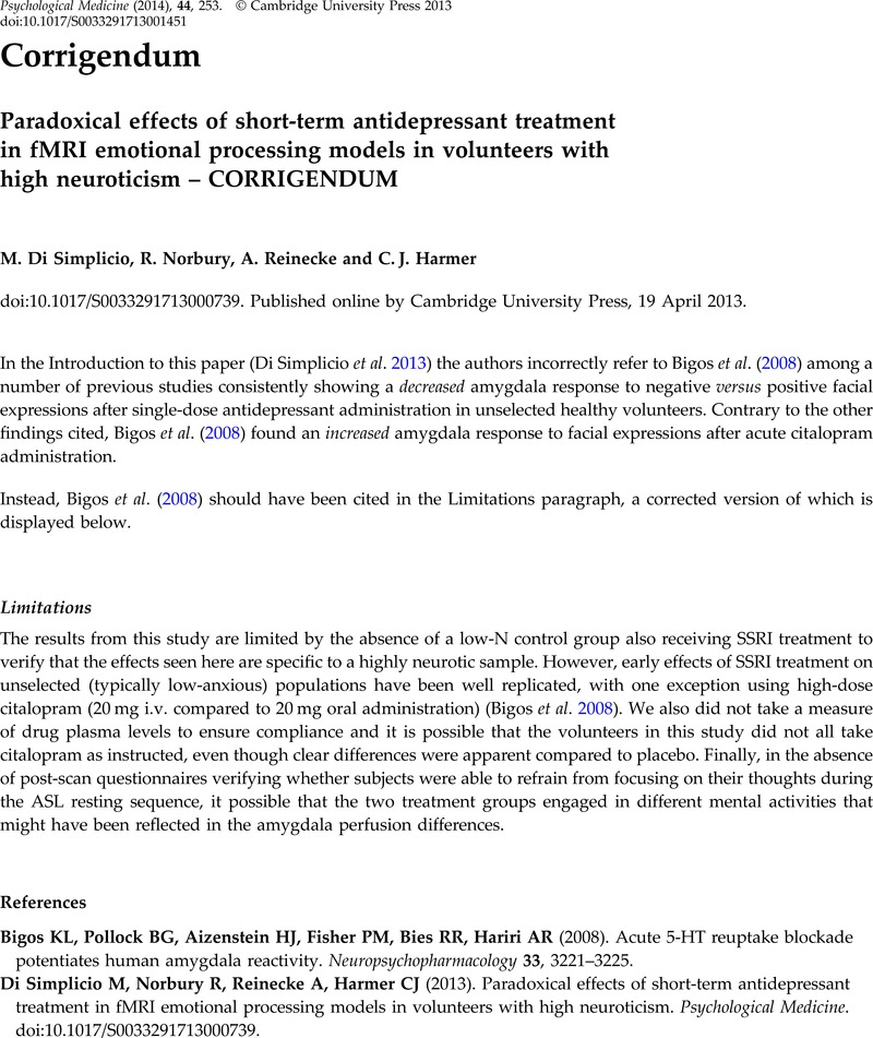 Paradoxical effects of short-term antidepressant treatment