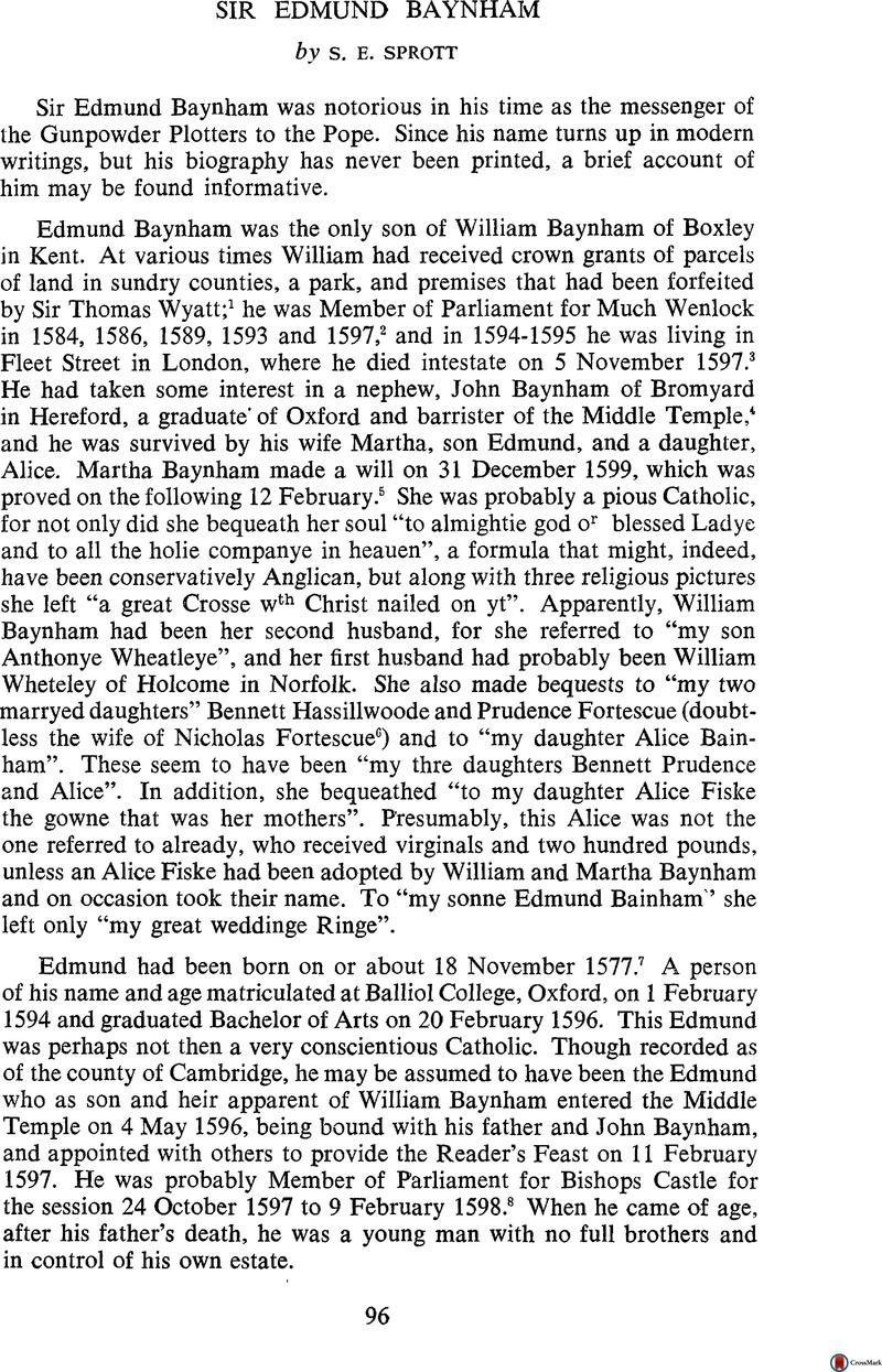 Sir Edmund Baynham | British Catholic History | Cambridge Core