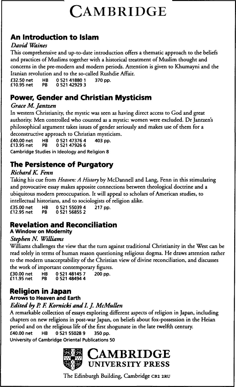 RES volume 32 issue 2 Cover and Back matter | Religious Studies
