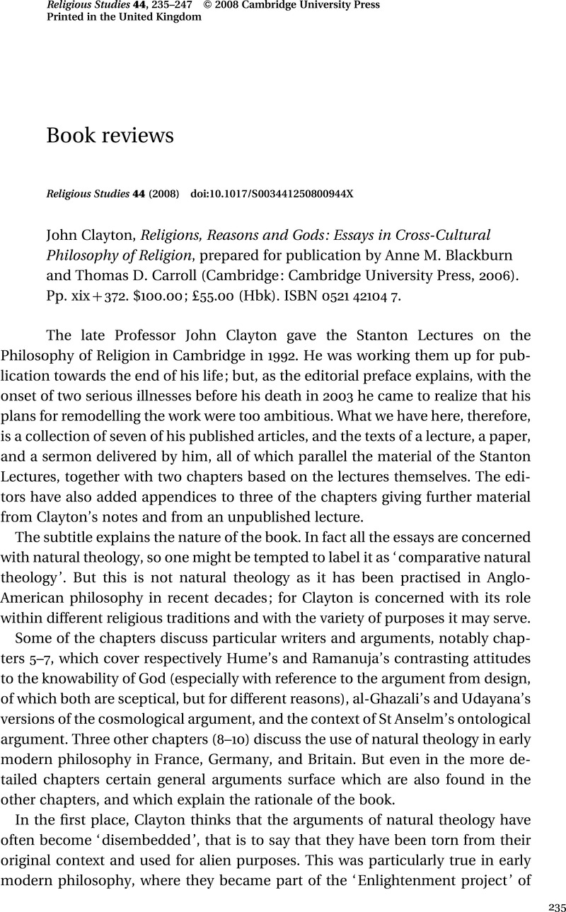 John Clayton Religions Reasons And Gods Essays In Crosscultural  Captcha