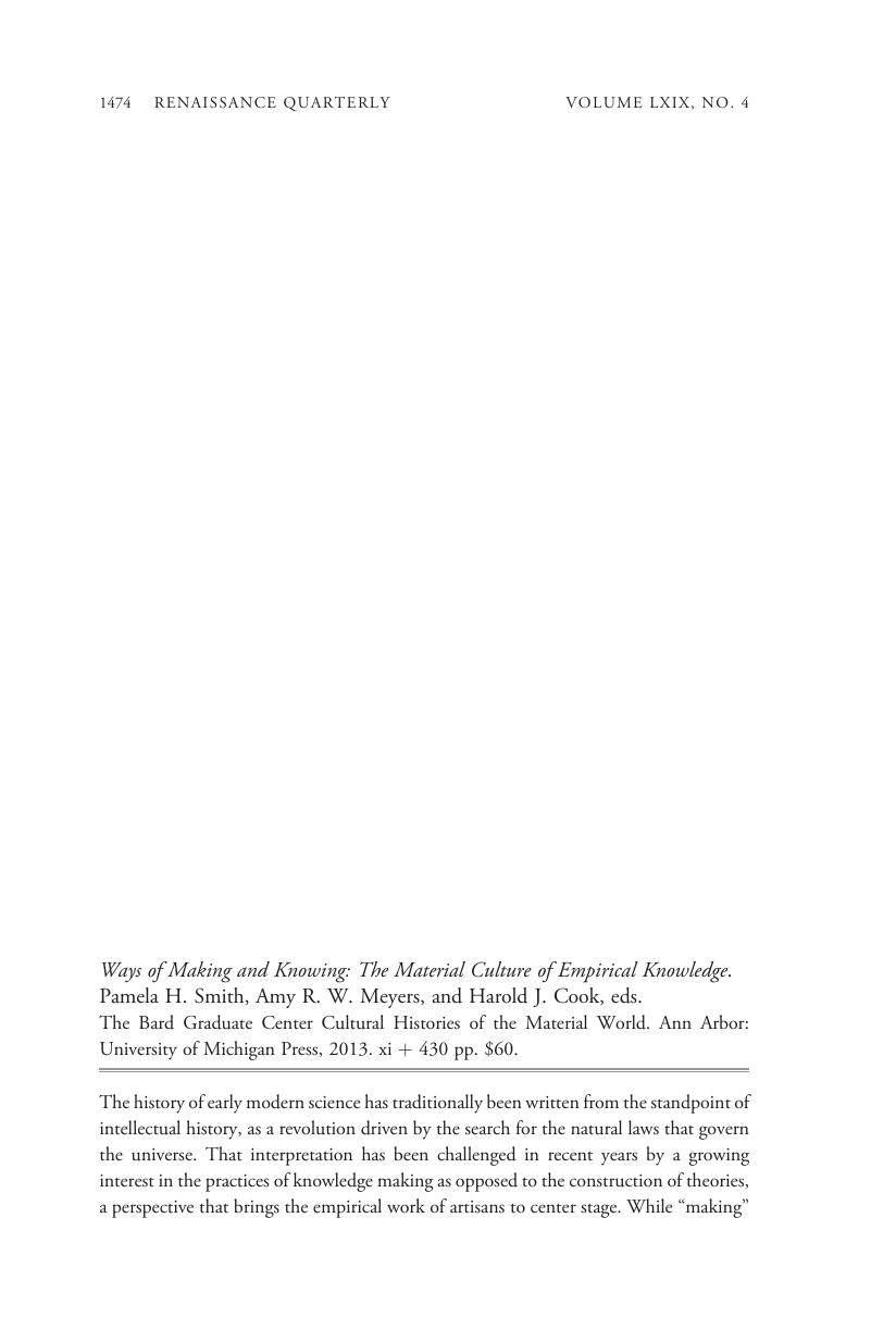 Ways of Making and Knowing: The Material Culture of Empirical