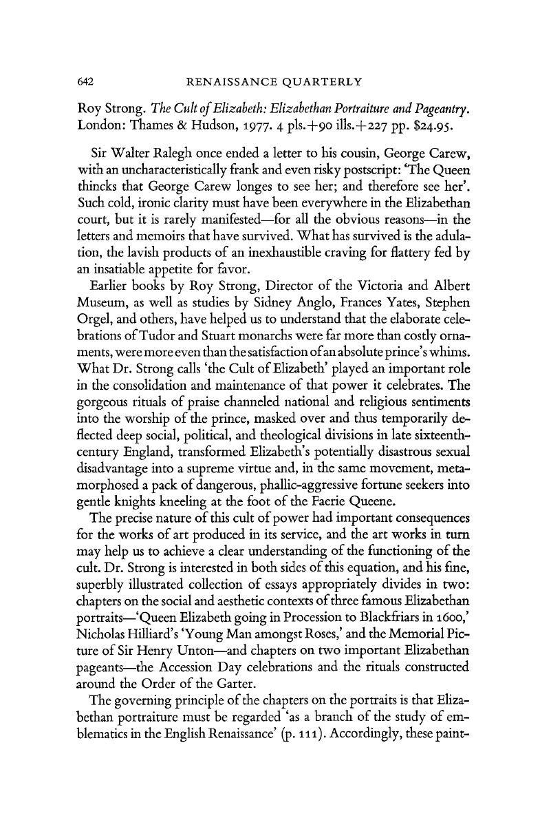 Cult of Elizabeth Elizabethan Portraiture and Pageantry