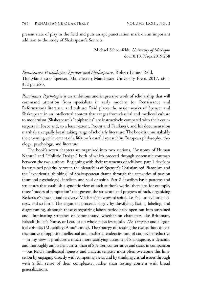 Renaissance Psychologies: Spenser and Shakespeare  Robert Lanier