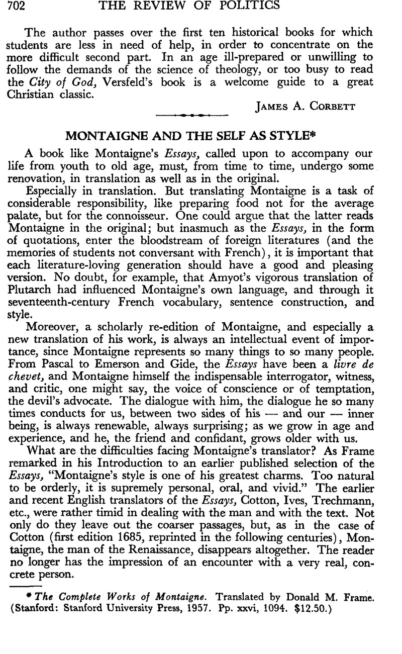 Montaigne and the Self As Style - The Complete Works of Montaigne ...