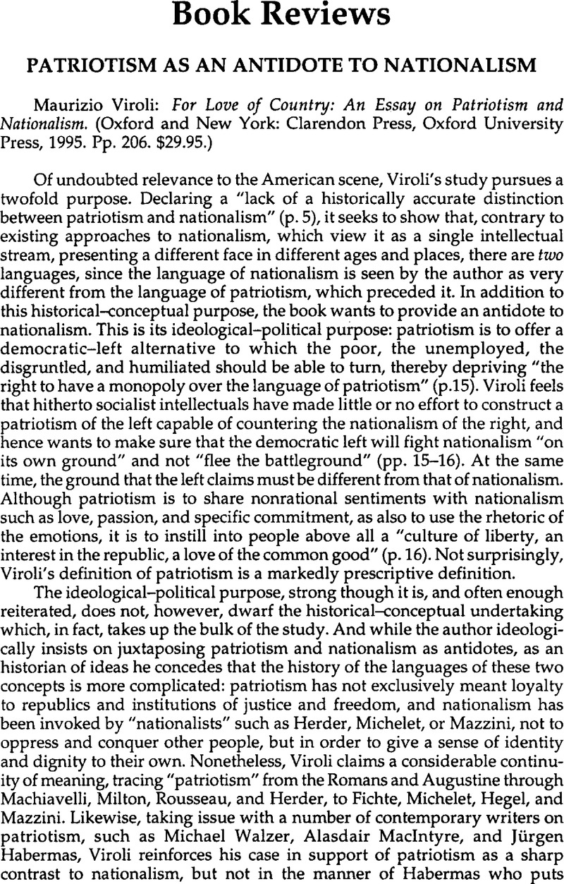 Persuasive Essay Thesis Statement Examples Patriotism As An Antidote To Nationalism  Maurizio Viroli For Love Of  Country An Essay On Patriotism And Nationalism Oxford And New York  Clarendon  Essay About Your Community also Mother Teresa Essay Patriotism As An Antidote To Nationalism  Maurizio Viroli For Love  Informal Essay Definition
