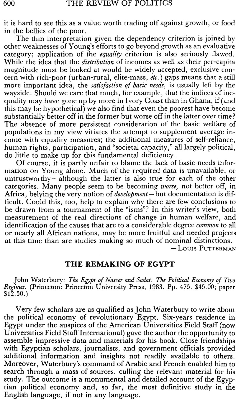 The Remaking of Egypt - John Waterbury: The Egypt of Nasser