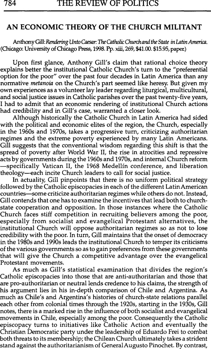 An Economic Theory of the Church Militant - Anthony Gill: Rendering