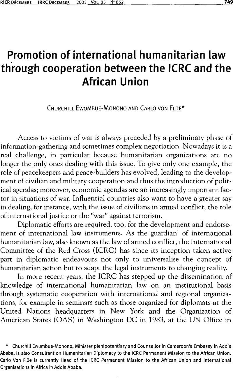 Promotion of international humanitarian law through