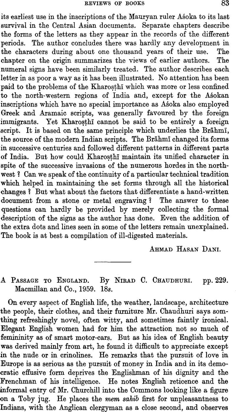 A Passage To England By Nirad C Chaudhuri Pp 229 Macmillan And Co 1959 18s