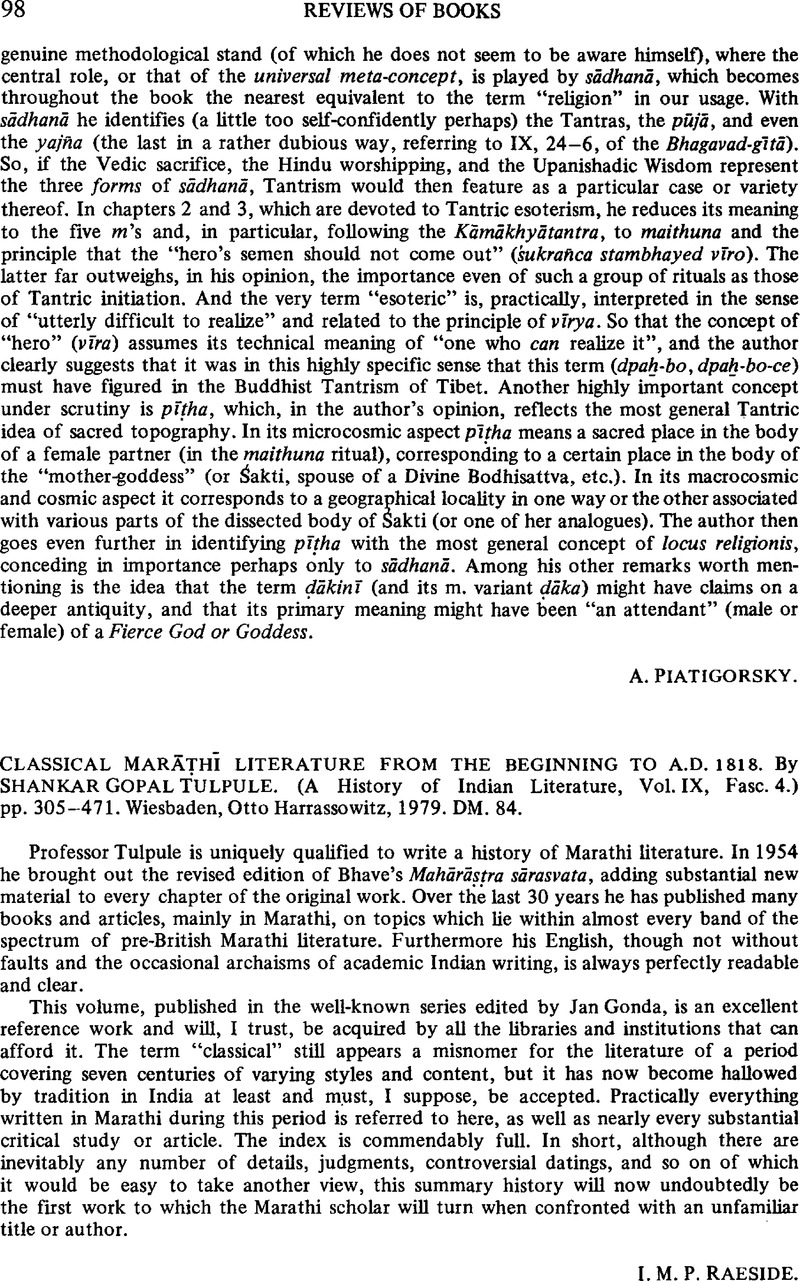 Classical Marāṭhī Literature From The Beginning To Ad 1818 By