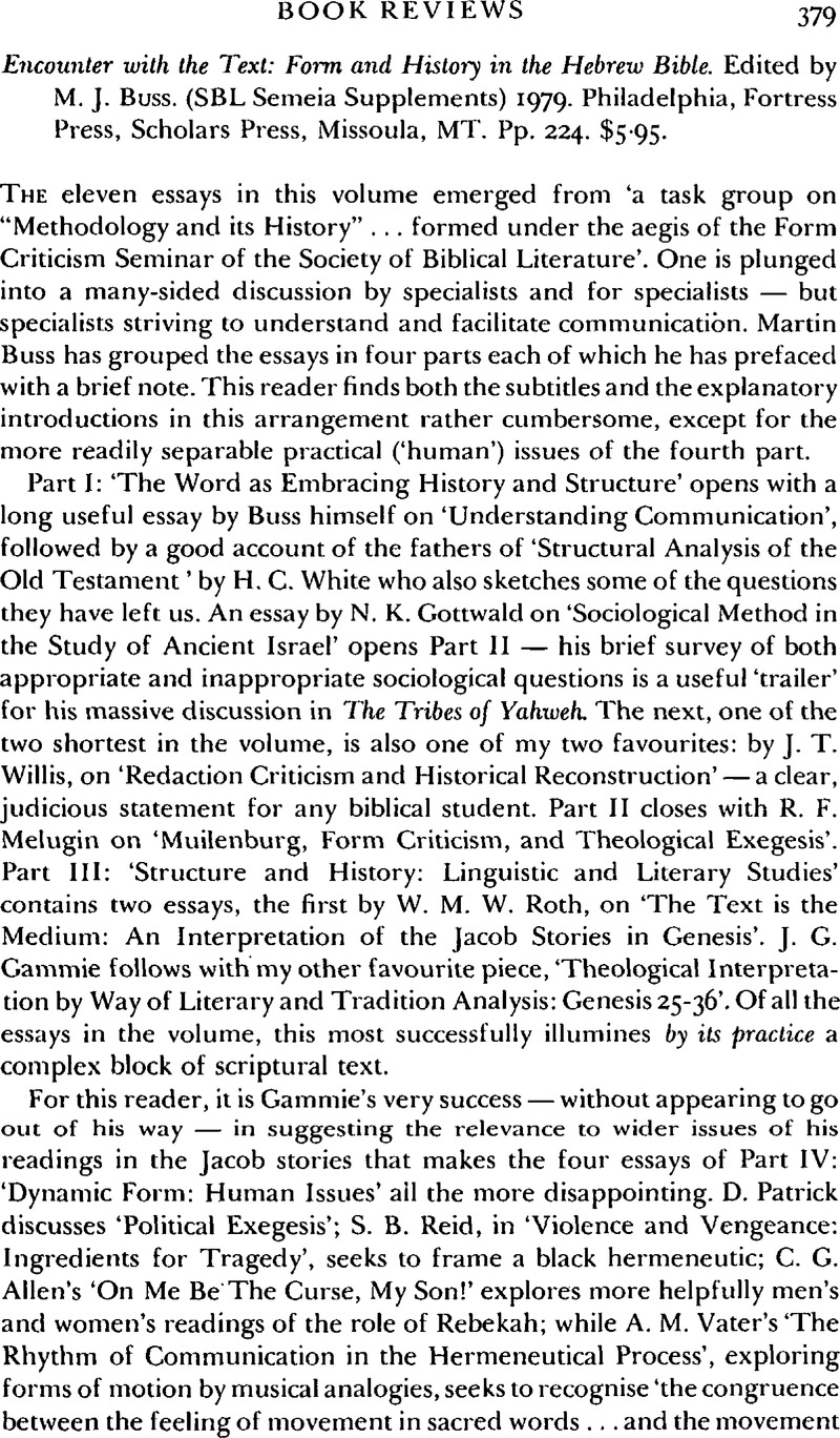 Encounter with the Text: Form and History in the Hebrew