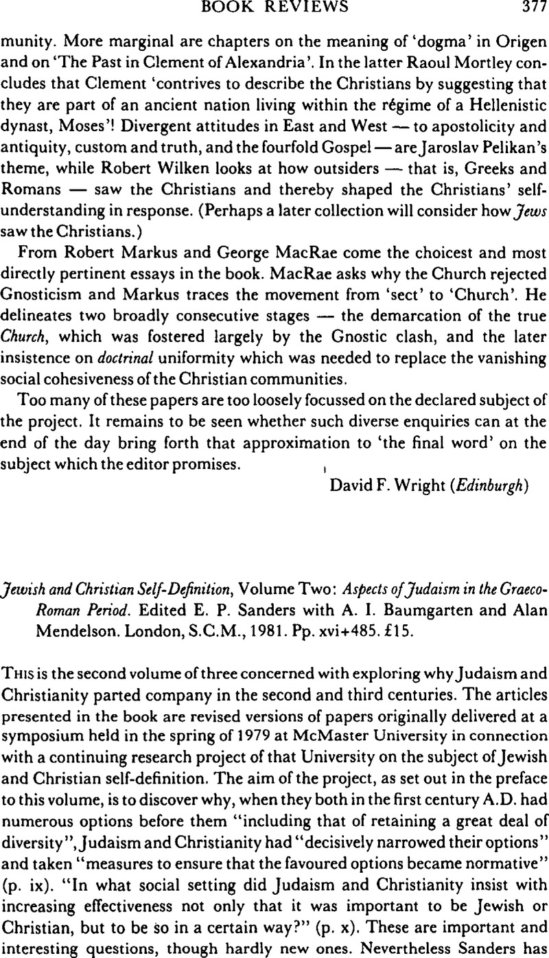 jewish and christian self-definition, volume two: aspects of judaism