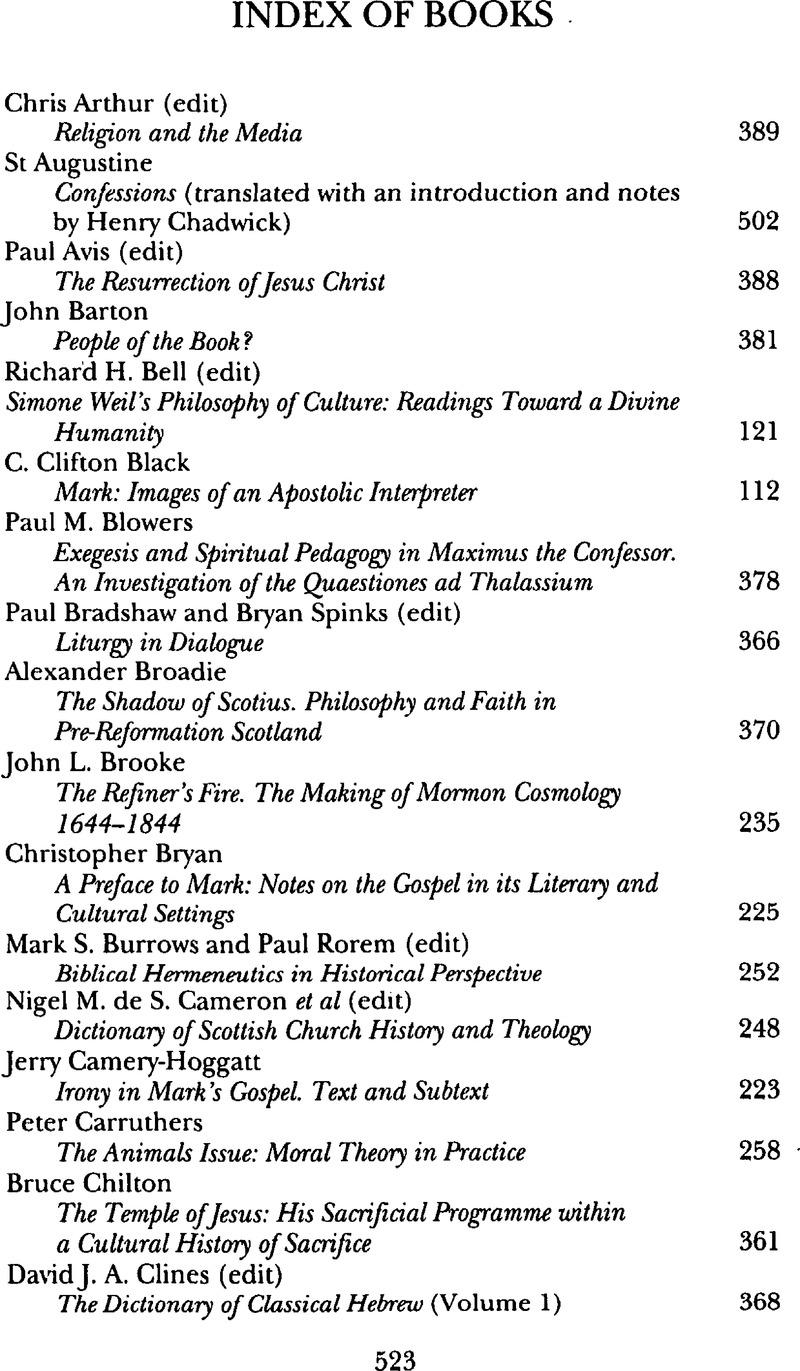 Index of Books   Scottish Journal of Theology   Cambridge Core