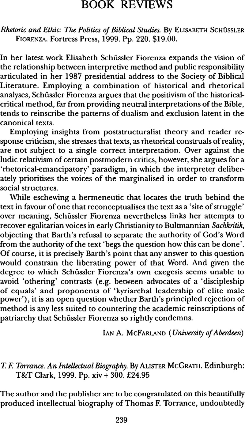 thomas f torrance an intellectual biography review brief article an article from theological studies