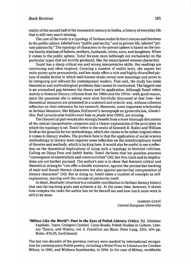 "Milosz Like the World"": Poet in the Eyes of Polish Literary Critics"