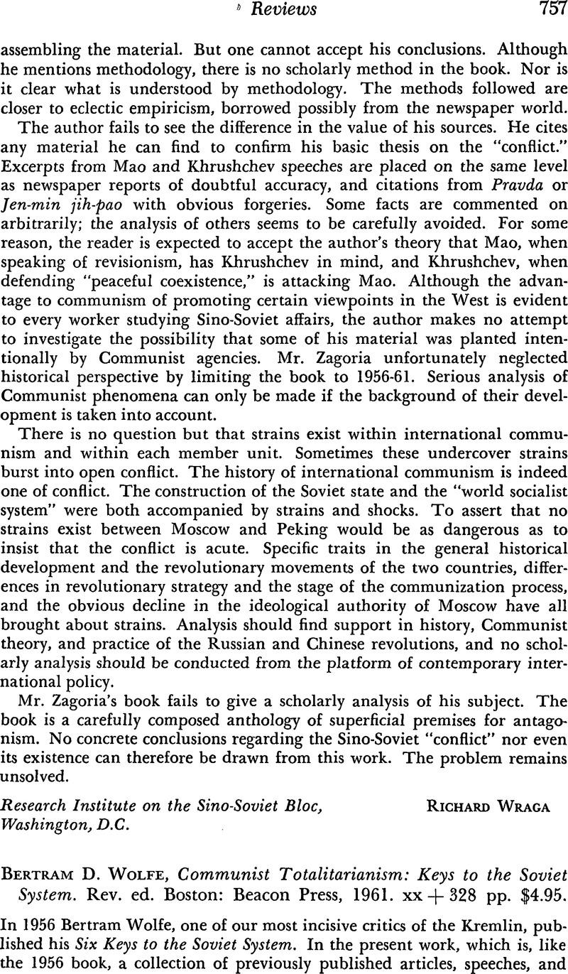 Bertram D  Wolfe, Communist Totalitarianism: Keys to the