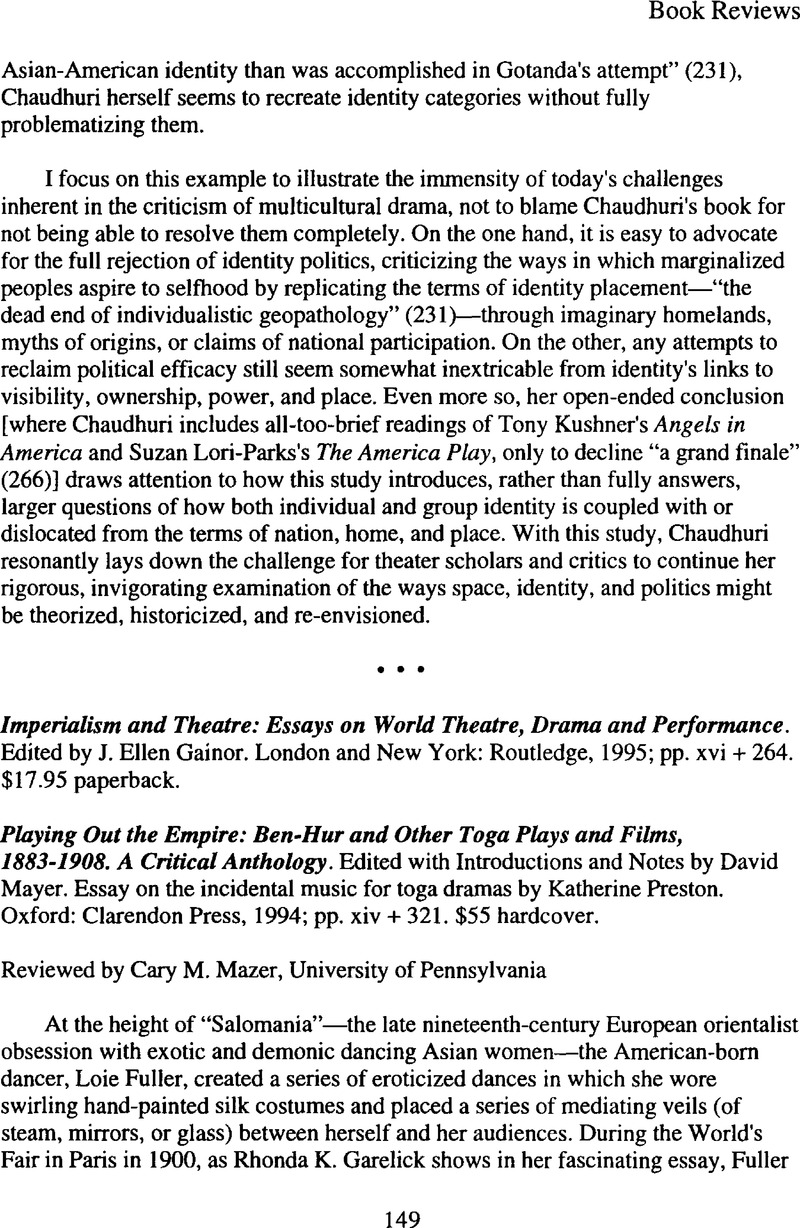 Imperialism And Theatre Essays On World Theatre Drama And  Captcha