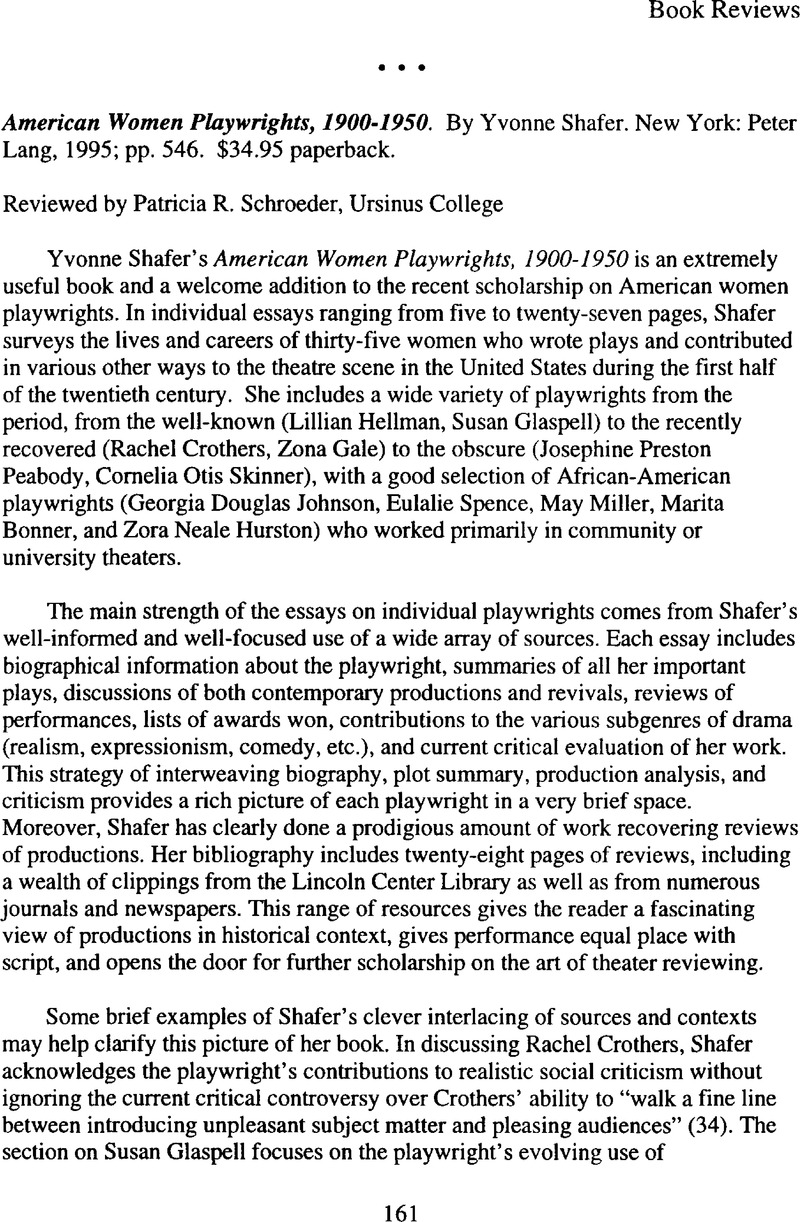 american women playwrights 1900 1950 by yvonne shafer new york