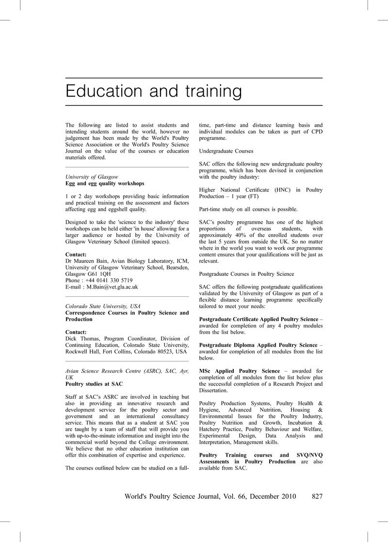 Education and Training   World's Poultry Science Journal   Cambridge