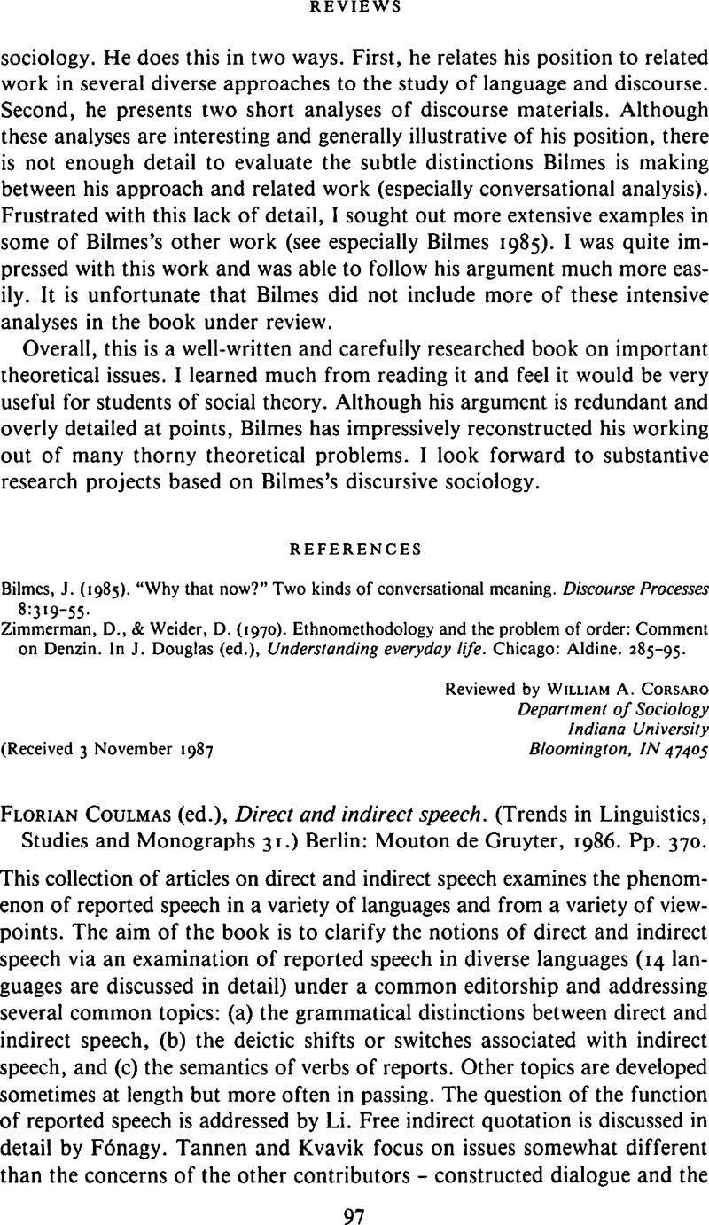 Florian Coulmas Ed Direct And Indirect Speech Trends In Linguistics Studies And Monographs 31 Berlin Mouton De Gruyter 1986 Pp 370 Language In Society Cambridge Core