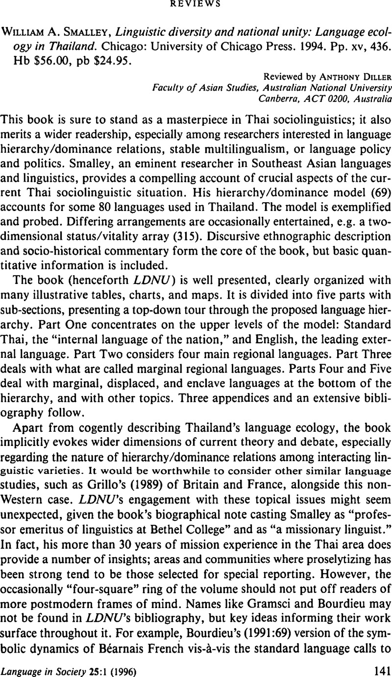 William A  Smalley, Linguistic diversity and national unity