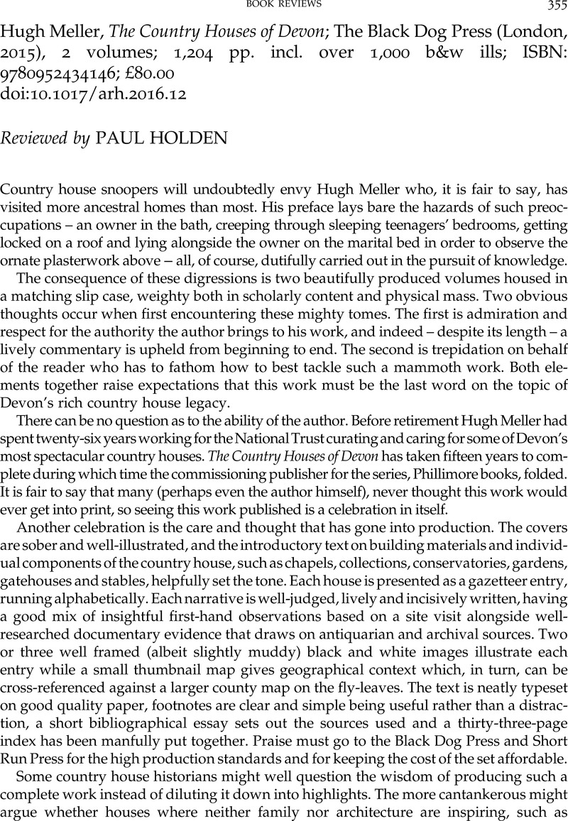 Paul Holden's Review of The Country Houses of Devon
