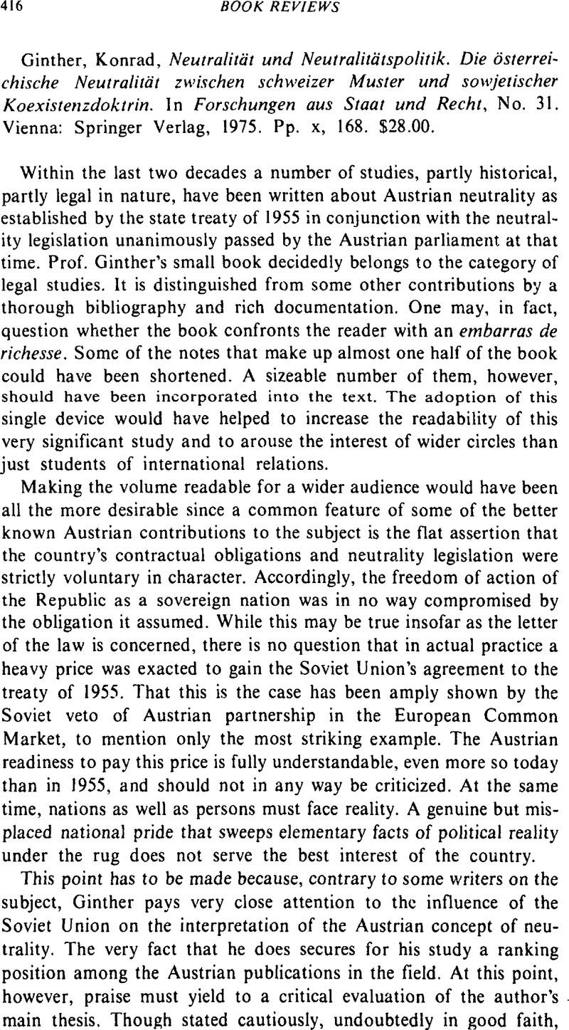 Konrad Ginther Neutralität Und Neutralitätspolitik Die
