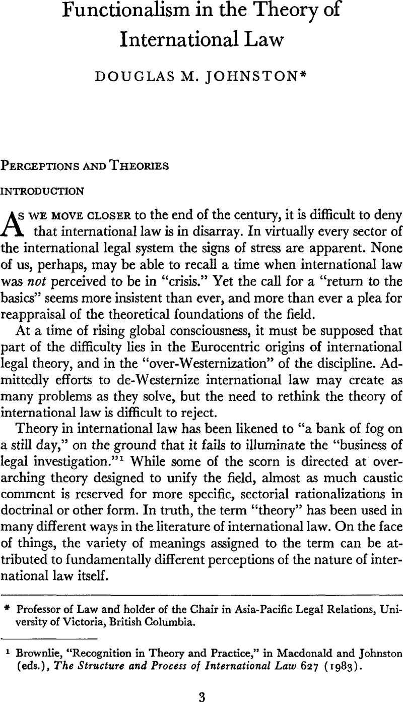 Functionalism In The Theory Of International Law Canadian Yearbook