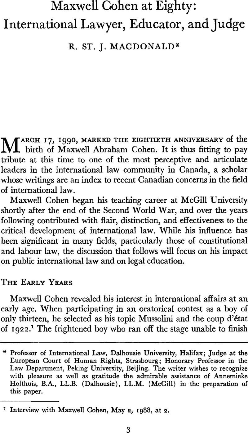Maxwell Cohen at Eighty: International Lawyer, Educator, and