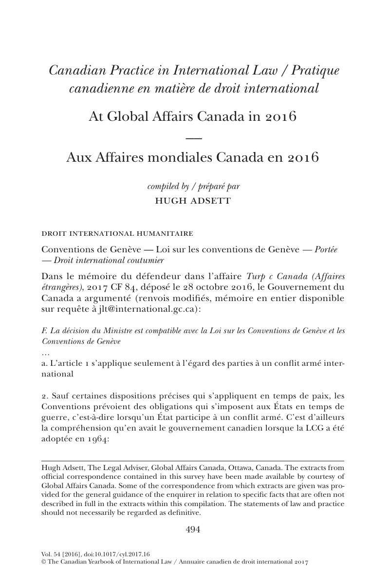 At Global Affairs Canada In 2016 Canadian Yearbook Of