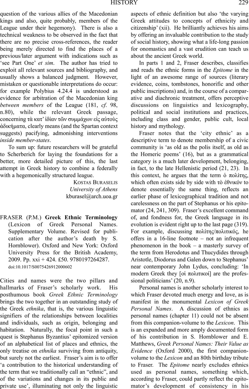 P M ) Fraser Greek Ethnic Terminology (Lexicon of Greek