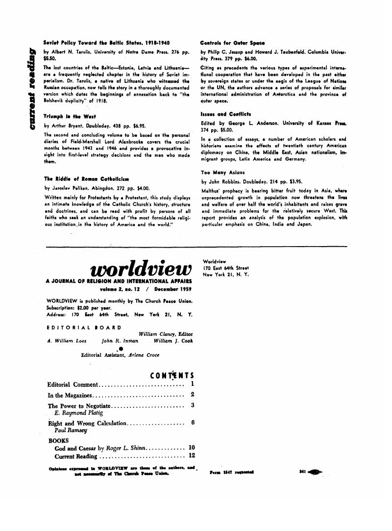 Current Reading | Worldview | Cambridge Core