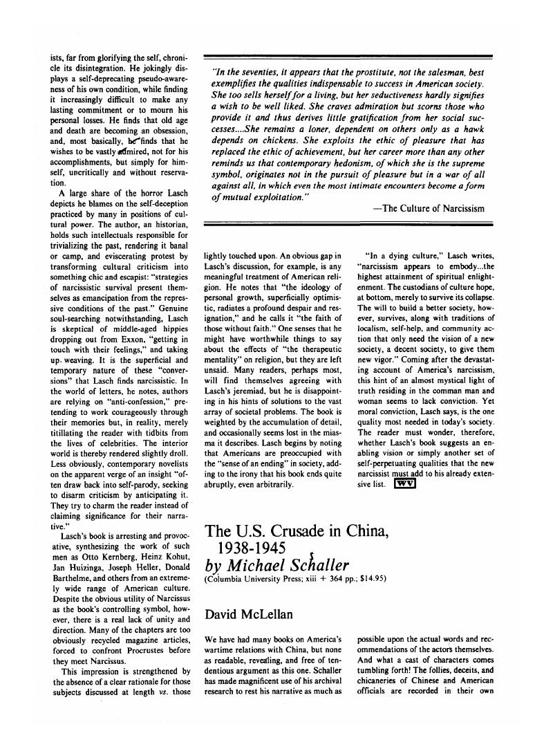 The U S  Crusade in China, 1938-1945 by Michael Schaller
