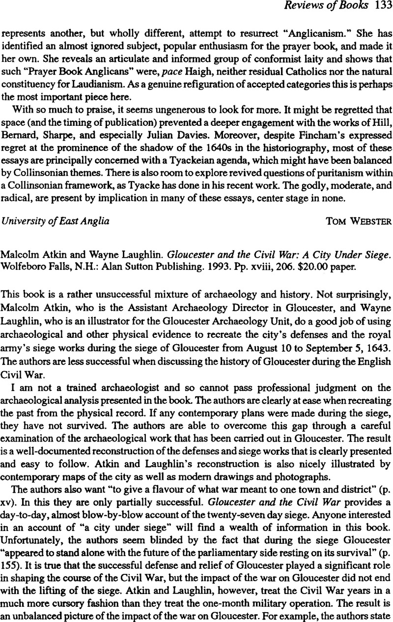 Atkin Malcolm And Laughlin Wayne Gloucester And The Civil War A