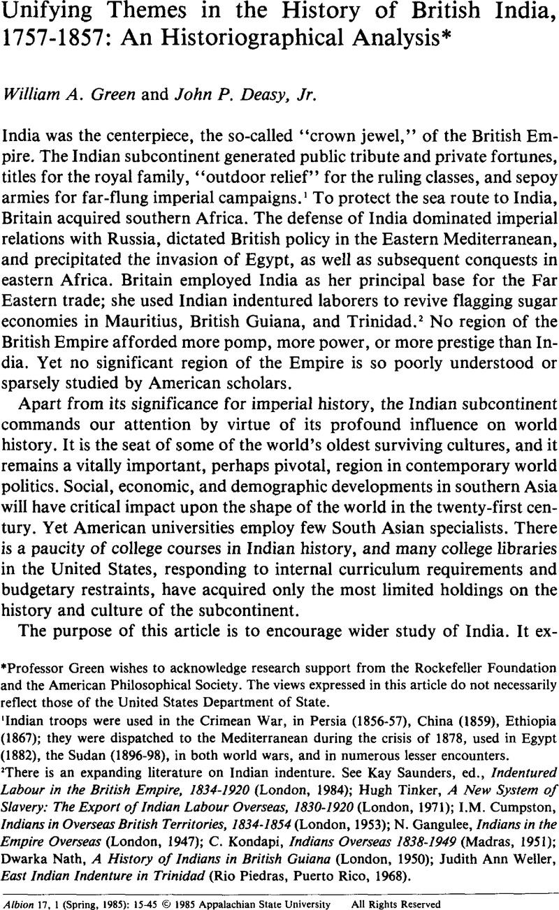 Unifying Themes in the History of British India, 1757-1857
