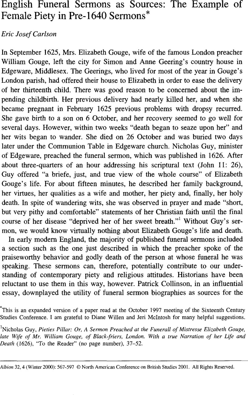 English Funeral Sermons as Sources: The Example of Female Piety in