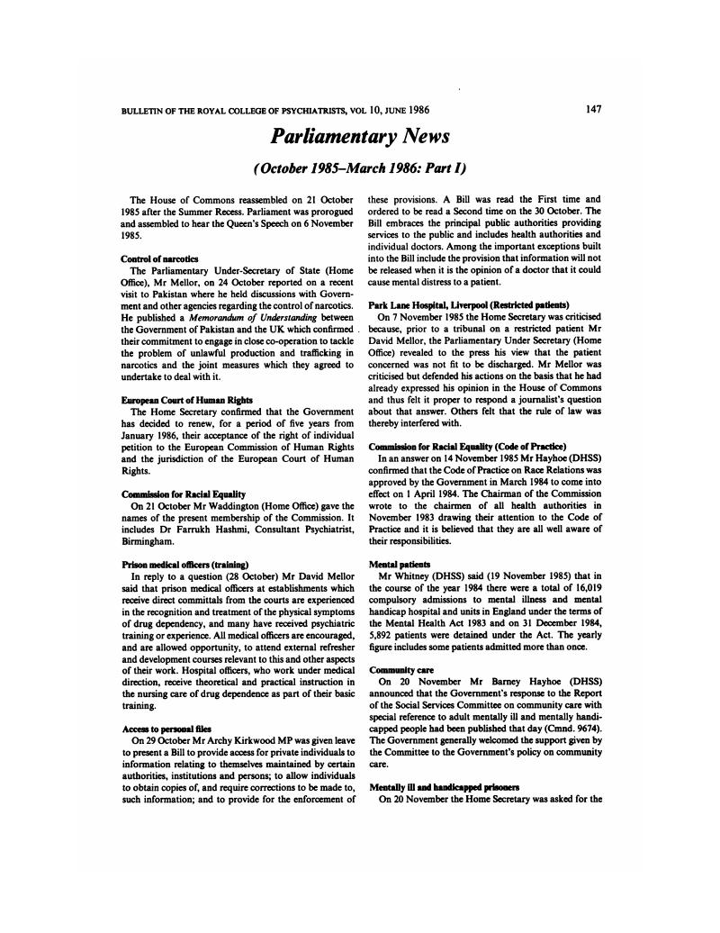 October 1985–March 1986: Part I   Bulletin of the Royal