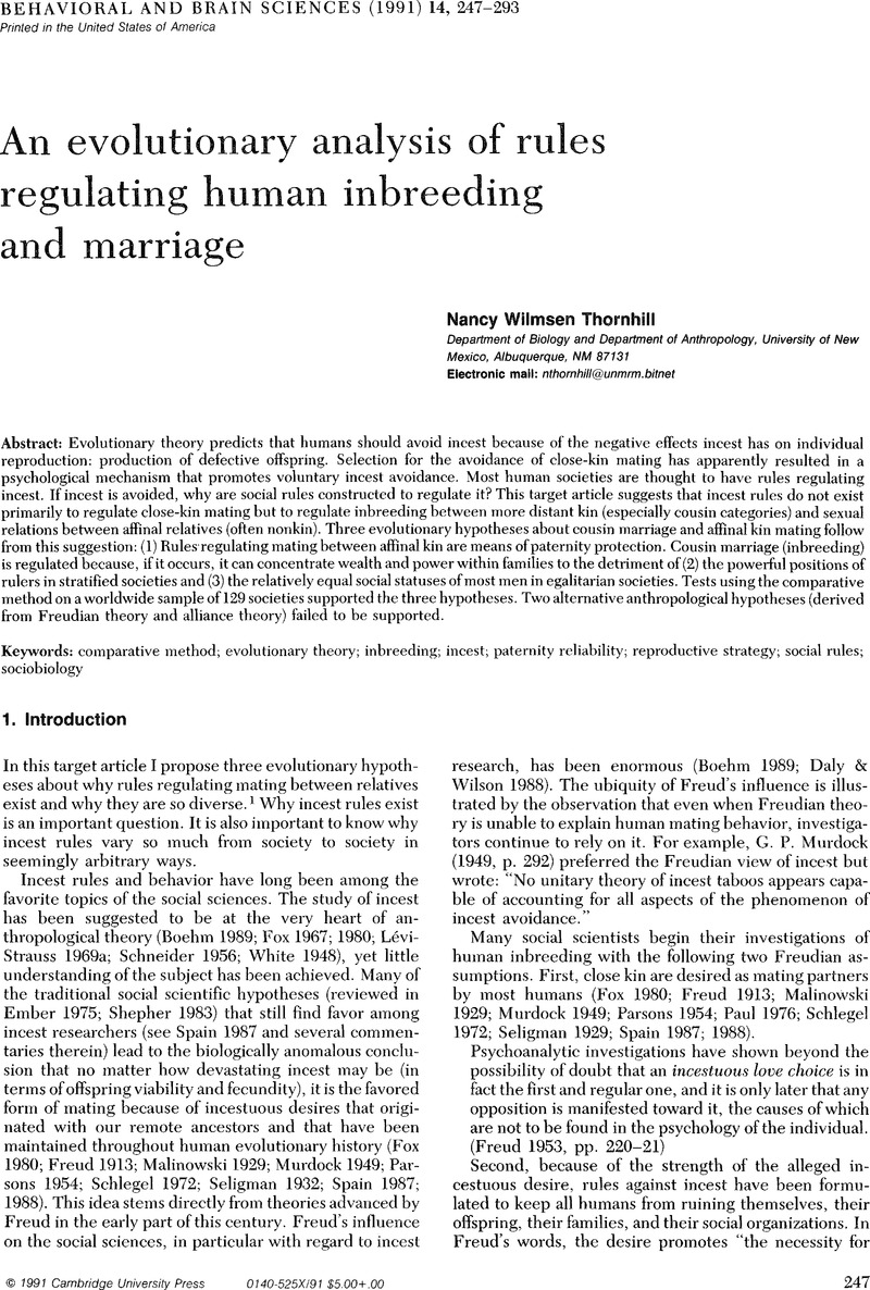 Marriage rules in perspective   Behavioral and Brain