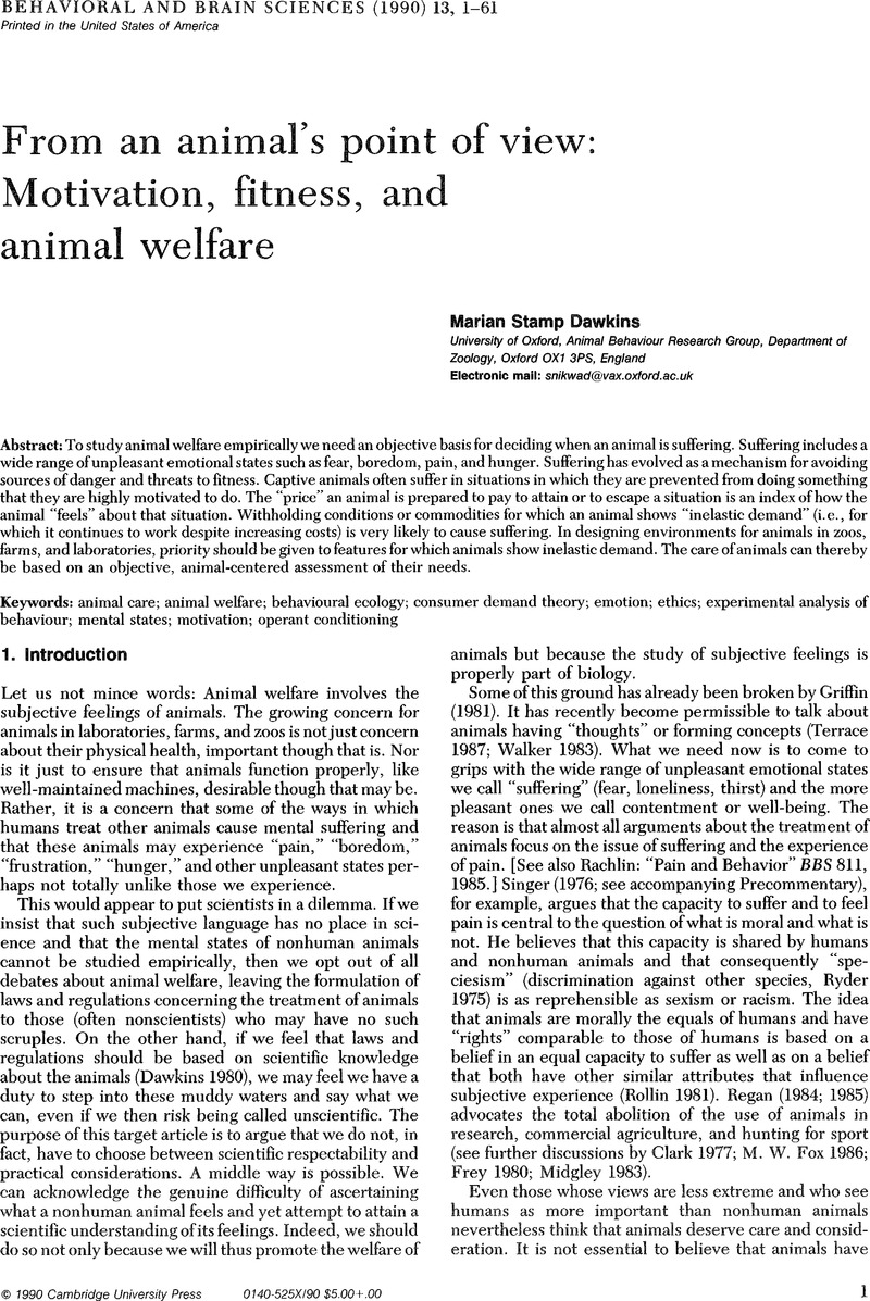 Ethics and animals | Behavioral and Brain Sciences