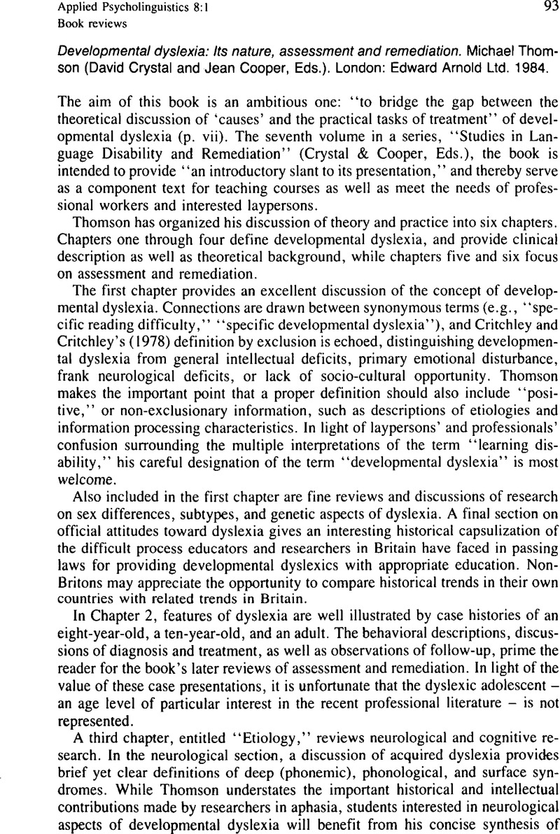 Developmental Dyslexia Its Nature Assessment And