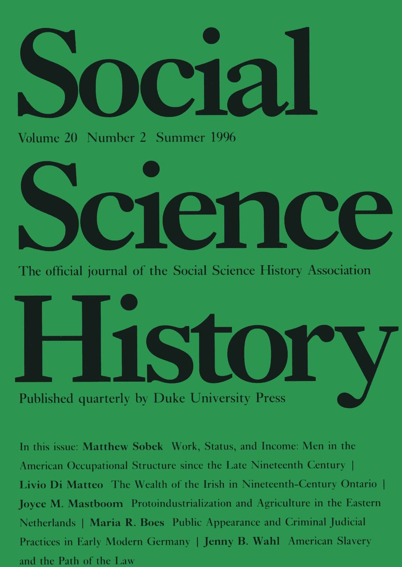 SSH volume 20 issue 2 Cover and Front Matter   Social