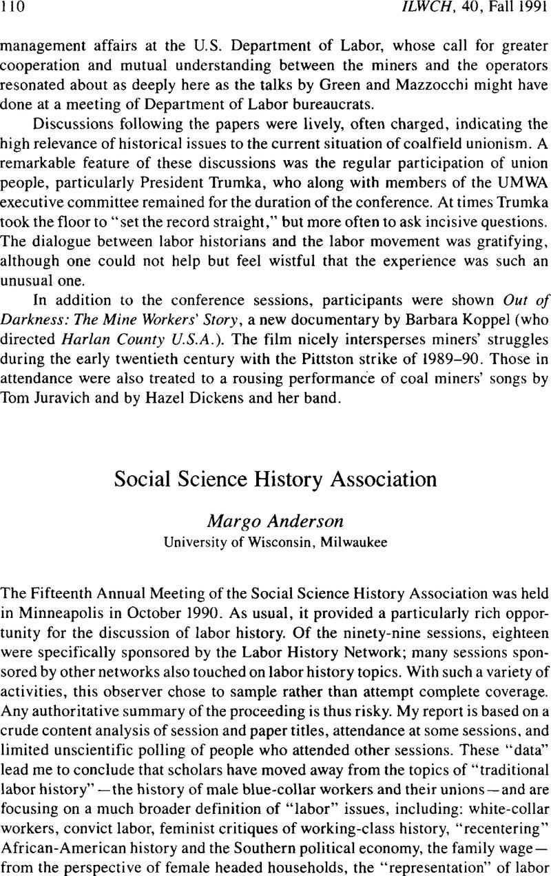 Social Science History Association | International Labor and